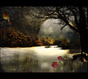 -a winter morning scene from another dimension- (xandram) Tags: trees winter light snow clouds photoshop cardinal dimension legacy theunforgettablepictures magicunicornverybest selectbestexcellence magicunicornmasterpiece sbfmasterpiece