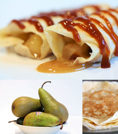 caramel pears and crepes