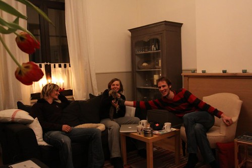 Good times with Nicolas, Sophie, and Raja (the Bengal cat) in Namur, Belgium.