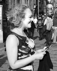 sweeney todd with added cleavage (byronv2) Tags: street blackandwhite bw woman sexy girl monochrome festival scotland blackwhite breasts edinburgh tits boobs candid fringe rack cleavage jugs revealing sweeneytodd downblouse sideboob