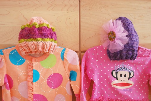 Knit hats and outfits from Stacey