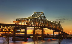 Mississippi River Bridge - Baton Rouge, LA (todd landry photography) Tags: bridge louisiana batonrouge mississippiriver hdr riverwater nikond40 hdratnight hdraward thebestofcengizsqueezeme2groups arethesebuildings