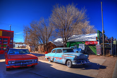 More Vintage Cars, Seligman, Route 66 - USA (Stewart Leiwakabessy) Tags: road street trees arizona sky people snow signs cold tree cars car animals rock bar america vintage landscape outside restaurant hotel cafe route66 highway scenery rocks neon unitedstates state unitedstatesofamerica freezing motel az scene things stewart interstate states scenes hdr seligman neonsigns baldtree leiwakabessy stewartleiwakabessy baldtrees