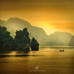 Dragon Bay (fesign) Tags: sea mist mountains nature water yellow fog landscape islands boat vietnam unescoworldheritage halongbay drizzle limestonekarsts vịnhhạlong quảngninhprovince yourwonderland magicunicornverybest selectbestexcellence magicunicornmasterpiece sbfmasterpiece outstandingromanianphotographers h1e8d23fe