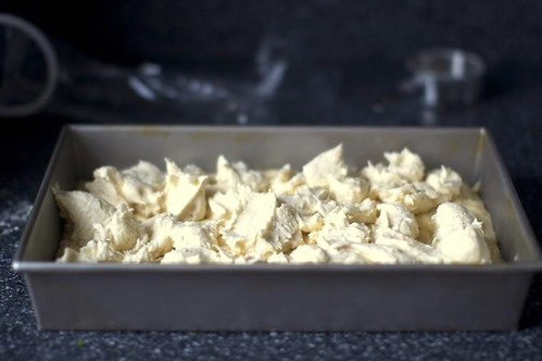 gooey batter, dolloped over cake dough