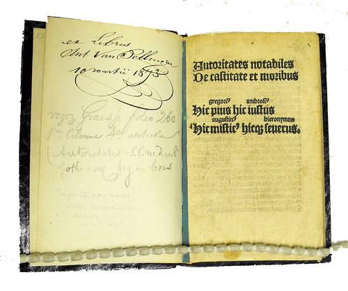 Ownership inscription and title-page from Auctoritates notabiles de castitate et moribus