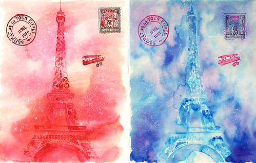 Eiffel Tower 11X14 thin cream watercolor paper