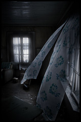 Haunted house (Pekka Tarvainen) Tags: urban abandoned suomi finland wind ghost spooky curtains exploration pekka parkano tarvainen ptarvain