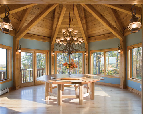 scenic valley view timber frame home dining room
