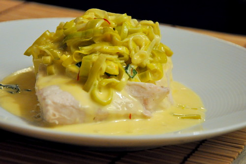 Poached Halibut with Saffron-Leek Sauce