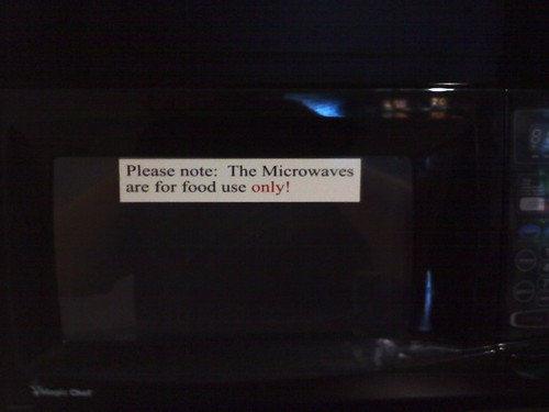 Please note: The Microwaves are for food use only!