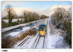 Sligo Bound in Winter (bbusschots) Tags: ireland winter snow train evening canal diesel rail railway railcar 1001nights maynooth hdr irishrail jol trainset kildare royalcanal dmu photomatix tonemapped tthdr iarnrdireann flickraward dmu3 class22000 1001nightsmagiccity