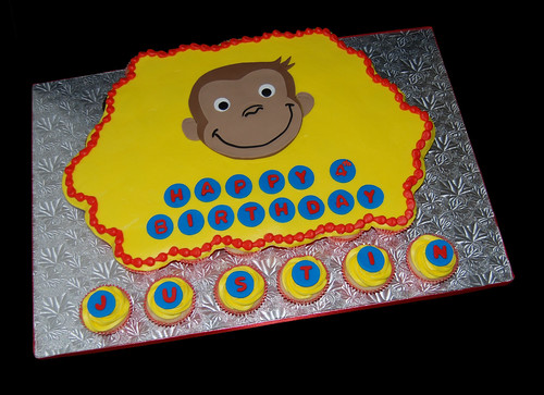 Yellow and Red Monkey Birthday Cupcake Cake