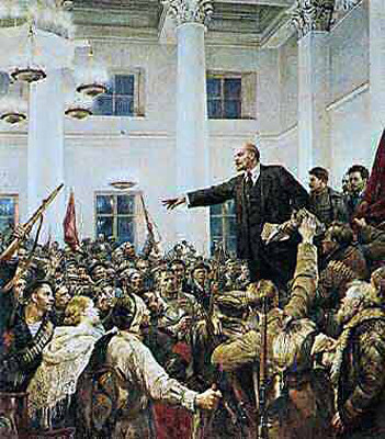 A socialist realist depiction of Russian revolutionary leader V.I. Lenin during the triumph of the seizure of power by the Bolshevik Party in October 1917. Lenin led the first socialist state in history until his death in 1924. by Pan-African News Wire File Photos