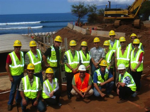 Agriculture Deputy Secretary Kathleen Merrigan is pictured here with Kiewit Project manager Jeff Fahey and other community leaders on a visit to the Lahaina Watershed project site.
