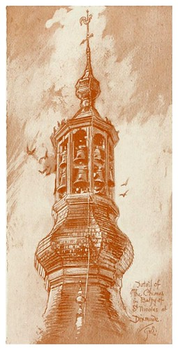 012- Detalle del campanario de San Nicolas en Dixmude-Vanished towers and chimes of Flanders 1916- Edwards George Wharton
