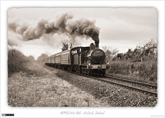 RPSI No.186 (Sepia) (bbusschots) Tags: ireland bw monochrome sepia train blackwhite rail railway loco steam locomotive steamtrain channelmixer kildare steamlocomotive steamloco steamspecial kilcock rpsi monochromemixer no186 nikond40only eastereggspress
