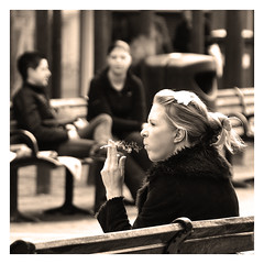 (Bob the Binman) Tags: girl monochrome sepia blackwhite cigarette smoke blonde attractive smoker nikond90 4tografie 4tografienikonbwsepia