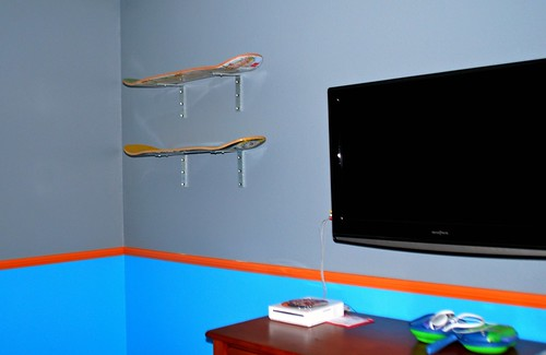 Skateboard Shelves on the Wall