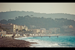 Nice Beach (Fabrice Drevon) Tags: sea man men beach alpes french hotel nice riviera photographer walk candid seagull horizon sigma wave cinematic f28 castel pontoon maritimes galion 70200mm d700 fabricedrevon perspectvive