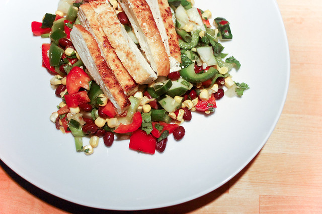 southwestern salad with griled tofu