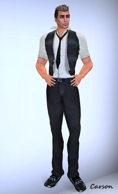 JFL Men's Wear -  Black Pants, Shirt and Vest