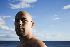 People (iconicphotoservices) Tags: people man color male beach water horizontal tattoo beard outdoors person hawaii coast cool unitedstates bald maui piercing photograph shore trendy facialhair hip caucasian headandshoulders onepersononly 3035years primeadult lookingatviewer