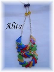 Collar Ondas (Alita Papier & Beads) Tags: color paper beads origami handmade jewelry verano fold papel papier plegado ecojewelry origamijewelry joyasdepapel joyasecolgicas