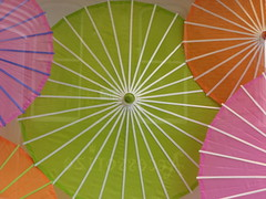 Summer colours (Katie-Rose) Tags: uk pink orange white lines yellow worthing pattern westsussex circles windowdisplay highstreet parasols accessorize katierose explored canonpowershota700 summercolours fbdg 43montaguestreet