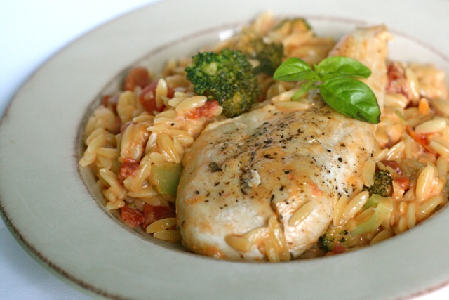 Herb-Rubbed Grilled Chicken with Creamy Orzo
