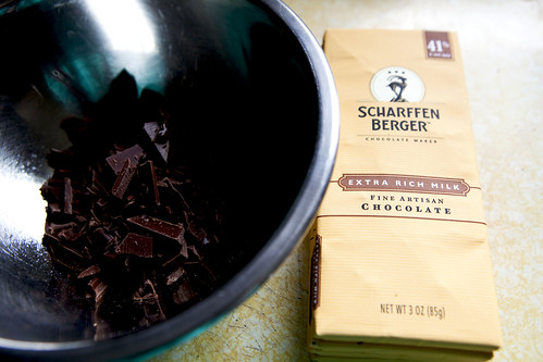 Broken pieces of Scharffen Berger Milk Chocolate