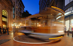 The Streetcar of Powell Station, San Francisco | DRI (David Giral | davidgiralphoto.com) Tags: sanfrancisco california blue usa station night train evening dusk hour powell marketstreet streetcar turning powellstation thepowellhotel