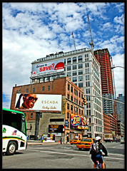 ESCADA (Ricky rake) Tags: road city blue shadow sky people brown white ny black bus green cars sign yellow clouds taxi explore frame distillery nycity thebestpicturegallery