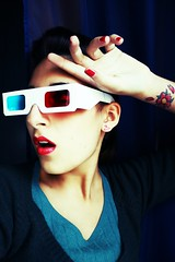 Red N' Blue (AYUMI-TURQUOISE) Tags: blue red selfportrait me tattoo myself cherry glasses 3d blossom makeup vogue sakura lipstick federica ayumi