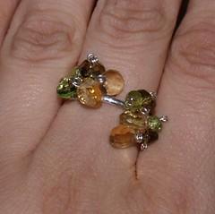 Gemstone Cluster Ring (SaltyStarfish) Tags: cluster gemstones citrine peridot smokeyquartz ringsterlingsilver