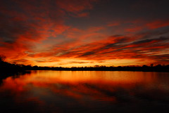 Good Morning! (Wavy1) Tags: red lake reflection water yellow clouds sunrise colorado pueblo hero winner goodmorning runyon
