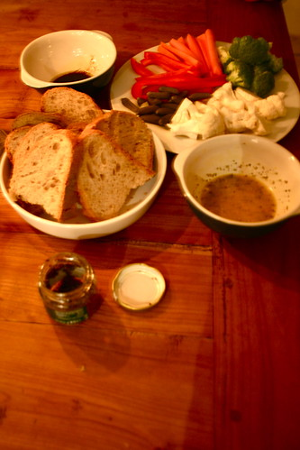aioli, bread, crudites. truffle pate and olive oil and balsamic