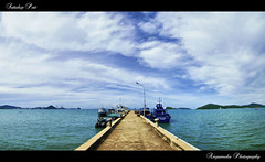 Sattahip Port /  (AmpamukA) Tags: blue wallpaper sky panorama cloud port landscape thailand boat view navy thai end chonburi sattahip      oldschooldigital