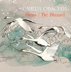 Swans artwork (Julie Annis) Tags: blue trees winter music house snow artwork woods paintings illustrations wash swans watercolors blizzard cameraobscura penandink singlecover