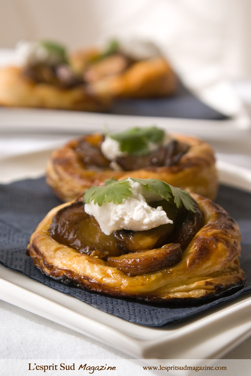 Mushroom tartlets with goat cheese