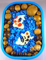 Koi Pond Bento (Cathryn3) Tags: chicken mushrooms pepper pond rice koi bento fried beech enoki kamaboko bunashimeji