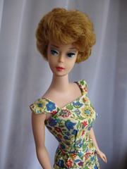 FAVE 850 blonde Barbie Bubblecut (circa 1962) in PAK Go Everywhere or On the Go floral sheath (1964-65)