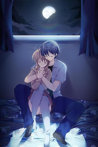 sad anime couples pictures. anime couple asleep