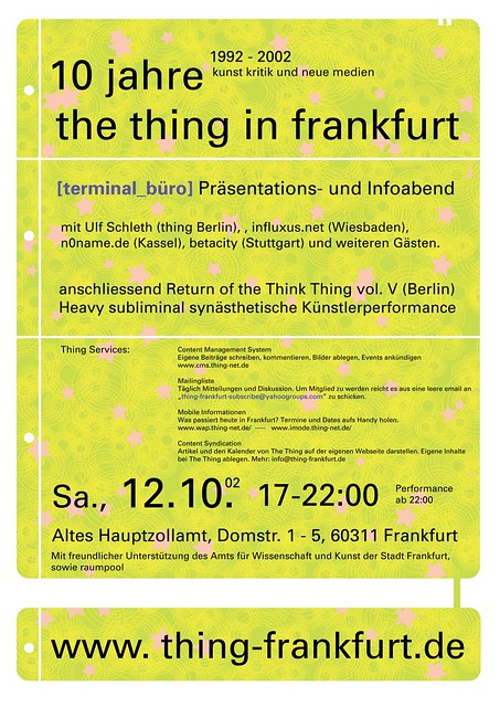 Poster 10 Jahre The Thing in Frankfurt. Oktober 2002