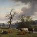 Landscape and Cattle, Thomas Baker, Oil on Panel, 1848, Op55