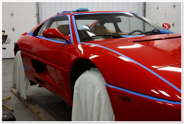 Ferrari 355 GTS taped up for detail
