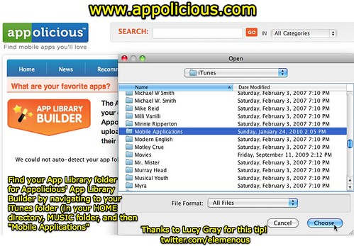 Find App Library Folder for Appolicious