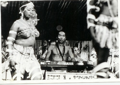 Fela and his band with dancers on stage. Fela has been depicted in a Broadway play that began in 2009. by Pan-African News Wire File Photos