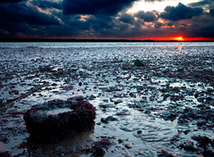 night rock (V a s s) Tags: sunset red sea sky cloud reflection beach water pool rock stone night composition dark evening coast amber moody mud south tide horizon sigma hampshire 1020 doubleyolk vass wwwdoubleyolkcouk wwwvassphotographycouk