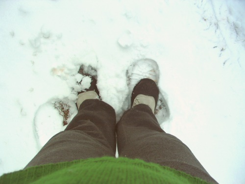 Feet in snow